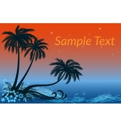 Landscape Palms Flowers and Night Sea vector image vector image
