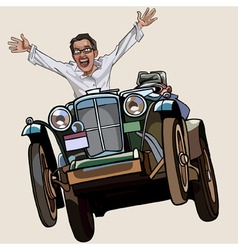man on the retro car enthusiastically rejoices vector image