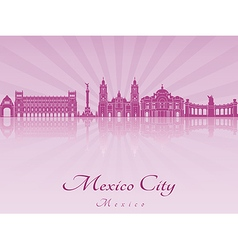 Mexico city skyline in purple radiant orchid vector