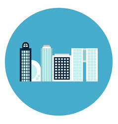 modern office buildings icon web button on round vector image vector image