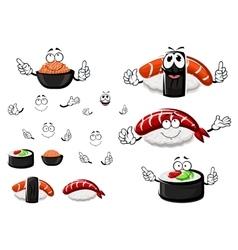 Nigiri sushi red caviar and sushi roll vector
