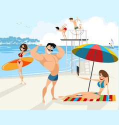 people rest on the beach vector image vector image