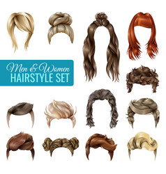 Realistic hairstyle set vector
