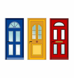 red yellow blue doors vector image vector image