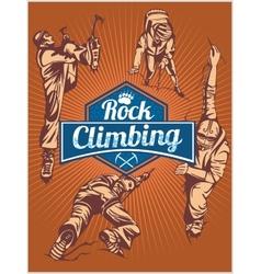 Rock climbing set - emblem and climbers vector image