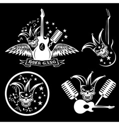 Rock gang set with jester skullwings and guitar vector