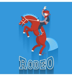 Rodeo posterCowboy on horse with text vector image