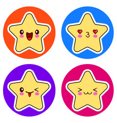 set of cute kawaii stars on different circle vector image
