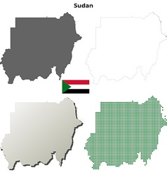 Sudan outline map set vector image