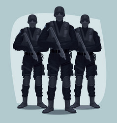 Three people of specialized tactical team vector