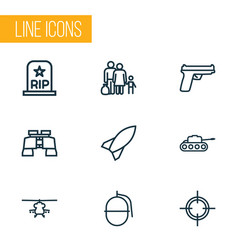 Warfare outline icons set collection of panzer vector