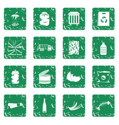 Waste and garbage icons set grunge vector