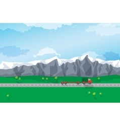 Winding road through a mountain landscape vector