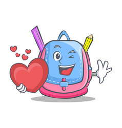 with heart school bag character cartoon vector image
