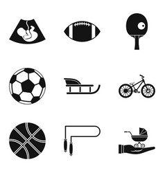 Youngster icons set simple style vector