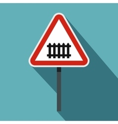 Warning road sign icon flat style vector