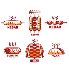 Set of stylized kebab burrito taco logo vector