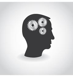 Cogs or gears in human head vector image