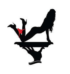 Girl beauty silhouette with red underwear vector