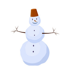 Isolated snowman with bucket on head winter vector