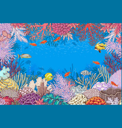 Underwater background with corals and fishes vector