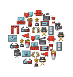 Icons set movies and cinema vector