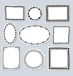 Doodle frames set - frames with hand drawn vector