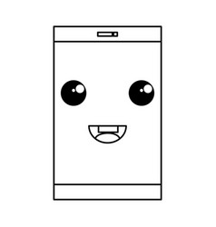 Smartphone device kawaii character vector