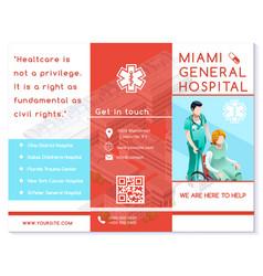 Hospital trifold brochure medical clinic eps10 vector