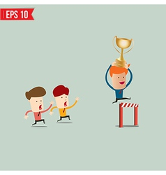 Cartoon businessman jump over winner podium - vector