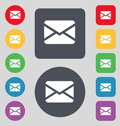 Mail envelope message icon sign a set of 12 vector
