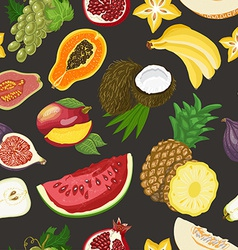Seamless pattern with healthy fruits on dark vector