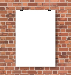 Blank poster on red brick wall vector image