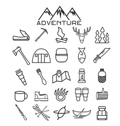 Adventure web icons set flat design vector