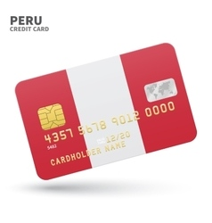 Credit card with peru flag background for bank vector