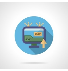 Online advertising round flat color icon vector image
