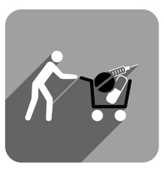 Medical shopping flat square icon with long shadow vector