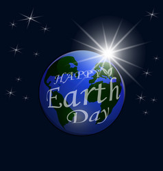 an inscription with a wish for happy earth day a vector image vector image