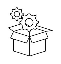 Box with gears machine isolated icon vector
