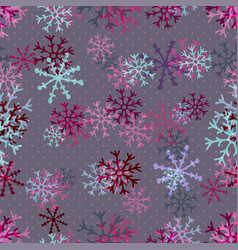 Christmas pattern of pink snowflakes winter vector