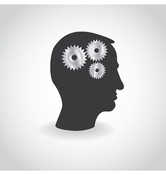 Cogs or gears in human head vector image