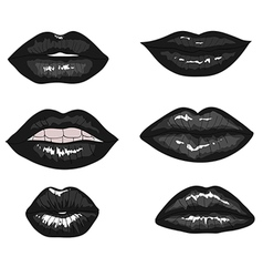 Collection Of Hand Drawn Black Lips vector image vector image
