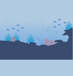 Coral reef and fish vector