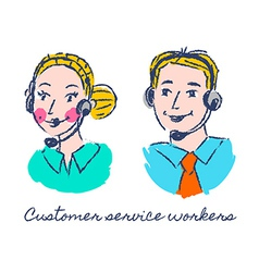 Customer service workers sketch drawing vector