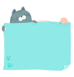 cute blue cat hold empty board vector image vector image