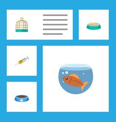 flat icon animal set of fishbowl cat eatin vector image vector image