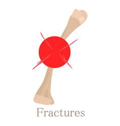 Fracture bone icon cartoon style vector