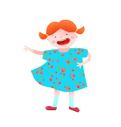 Funny happy little girl red head character vector
