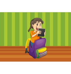 girl with book in a bag vector image vector image