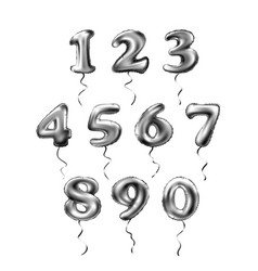 grey number 1 2 3 4 5 6 7 8 9 0 metallic balloon vector image